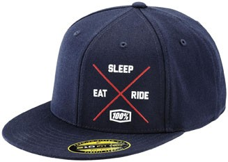 100% - Eat Sleep Ride Snapback Hat Navy