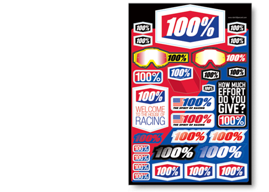 100% - 8 Logos Decal Sheet 12x18