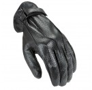 Power Trip Jet Black Perforated Lether Gloves