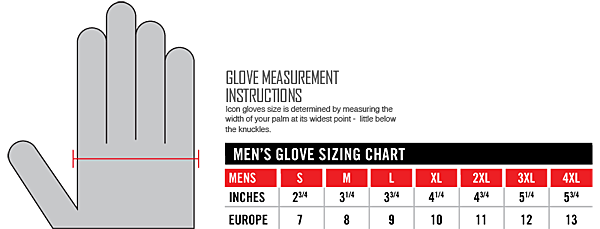 ICON mens glove sizing